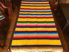 """Satillo or Serape Style Acrylic Mexican Blanket 1.2 lbs 36"""" by 78"""" Yellow Yoga"""