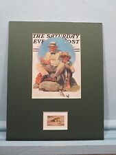 Norman Rockwell picture - Fishing  honored by the Jock Scott Fishing Fly Stamp.