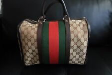 GUCCI Vintage Web Original GG Canvas Boston Bag Medium used (100% Authentic)