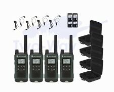 4 Motorola TALKABOUT T465 Two-Way Radio Hands-Free Walkie Talkies PTT Earpieces