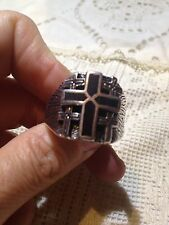 1980's Vintage Large Stainless Steel Size 9.5 Men's Onyx CrossInlay  Ring