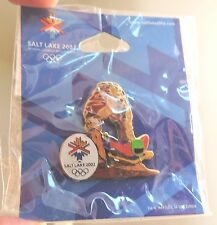 2002 SALT LAKE CITY OLYMPICS PIN on Original Card Delicate Arch skeleton sled