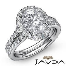 Oval Cut Diamond Halo Prong Set Engagement Ring GIA F VS2 18k White Gold 2.76ct