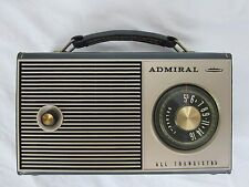 VINTAGE ADMIRAL Y2119 PORTABLE TRANSISTOR RADIO 7D2 Chassis Gray Stitched trim