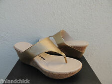 TSUBO ODELLE GOLD LEATHER CORK WEDGE HEELS, US 8.5/ EUR 39.5 ~NIB