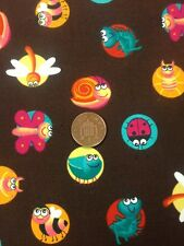 Brown 100% Cotton fabric Quilting Craft Dress By Half Mtr Bright Bugs Childrens
