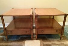 Vtg Pair Mid Century DREXEL HERITAGE PALAZZO End Tables Night Stands w Drawer EC