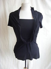 Ladies Top - Chillytime, size 8/10, black, built in 'vest', stretchy, belt 1611