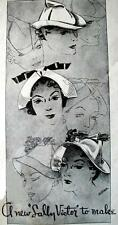 LADIES HOME JOURNAL # 1273 SALLY VICTOR CAPS HATS Fabric Sewing Pattern Vintage