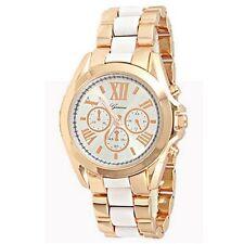 Rose Gold Roman Numeral White Watch Designer Fashion Women Geneva Boyfriend