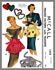 Vintage Cute McCall Misses Apron One size Material Fabric sewing pattern # 1278