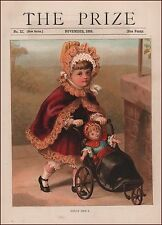 Girl Giving Her Doll a Carriage Ride, antique chromolithograph, print 1888