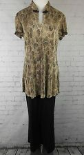 DRESSBARN Women's Stretch Blend Black/Beige Tunic Pant Suit Sz 10 *2074