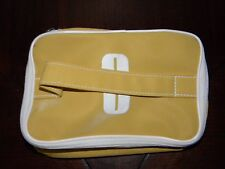 Vtg Clinique Make Up Bag Mustard Yellow Cosmetic Case Rectangle C Logo Handle