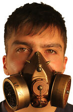TrYptiX Steampunk Gas Mask Dual Cartridge Spikes W/ Chain respirator Burning Man