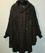 Genuine Fur Trim Poncho Fits XL 1X 2X 3X 4X Plus Brown Cape Sleeve Cuff NWT G734