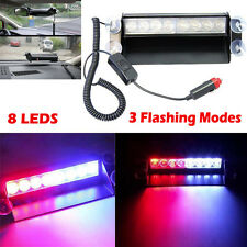 Red/Blue 8LED Car Truck Dash Strobe Flash Light Emergency Police Warning 3 Modes