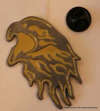Large Screaming Eagel Yellow and Silver Hat Pin Metal Motorcycle Biker Tie tack