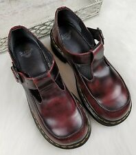 Dr. Marten Womans Size 6 US Mary Jane T Strap Red UK 4 Maroon Sandal