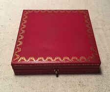 Le Must De Cartier Paris France Authentic Red & Gold Square Jewelry Box Only