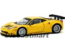 FERRARI 458 ITALIA GT2 YELLOW 1:18 DIECAST MODEL CAR BY HOTWHEELS BCJ78