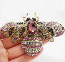 Charming Retro Bee Insect Gold-plated Brooch Pin Purple Crystal Rhinestone