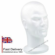 Male Poly Polystyrene Head Mannequin Mens Head White For Wigs etc Good Quality