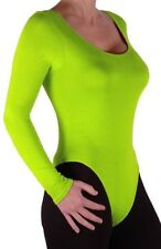 Womens Long Sleeve Scoop Neck Plain Skinny Fit Strecth Tight Leotard Bodysuit