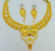 Indian Belly Dance Saree Skirt Jewelry 22K Gold Plated Necklace Earrings #221
