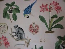 SANDERSON CURTAIN FABRIC DESIGN Capuchins 0.45 METRE CHINTZ VOYAGE OF DISCOVERY