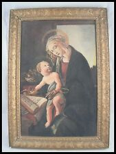 LA MADONNA DEL LIBRO BOTTICELLI 15TH OLD PAINTING ON WOOD FRENCH SCHOOL OF 19TH