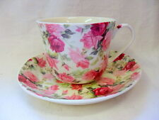 Large size breakfast cup and saucer in summer rose design