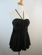A21 BLACK MARCIANO WOMENS GOLD CHAIN BRAIDED STRAP HALTER PLEATS TOP SZ XS
