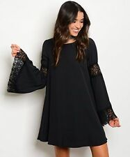 COWGIRL GYPSY Black Boho Dress Lace Detail Bell Sleeve Country Western LARGE lbd