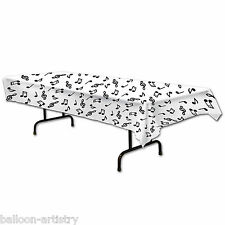 """54""""x108"""" Music Musical Notes Black & White Children's Party Plastic Table Cover"""