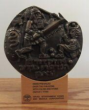 "Eliezer Weishoff (b.1938) David and Goliath 5"" bronze medal/stand ltd ed."