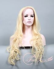Lace Front wigs Curly Wavy Wigs for women Pale Blonde Extra Long wigs white wigs