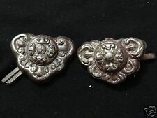ANTIQUE MONGOLIAN HAND HAMMERED  PAIR OF BRASS SADDLE ORNAMENTS