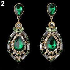 Women Stunning Luxury Elegant Fuax Rhinestone Big Drop Earrings Vintage Earings