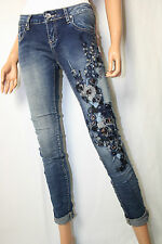 Jeans Hose  Stretch Gr. XS Stickerei Blumen Strass Skinny DENIM blue Vintage Neu
