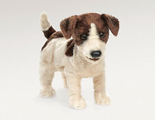 Folkmanis Terrier Jack Russell Puppy Dog Hand Puppet Brown White Stuffed 3y+ NEW