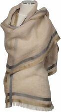 Leichter Schal Leinen Seide Baumwolle, Beige  scarf linen silk