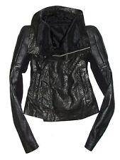 RICK OWENS Black Full Grain Leather Robot Biker Structured Shoulder Jacket US 6