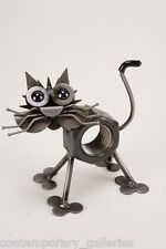 Yardbirds Unpainted Recycled Scrap Metal Chubby Nut the Cat Sculpture Handmade