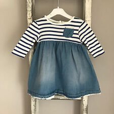 Baby Girl Next Dress Size 0-3 Months Blue White Denim Stripe Spring Outfit
