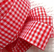 "Lot 2-YDS,Red &White 1.5"" Gingham Polyester Wire Edge Nice Light-weight Ribbon."