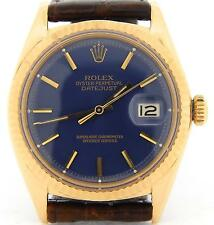 Mens Rolex Solid 18k Yellow Gold Datejust w/Blue Dial & Brown Strap Band 1601
