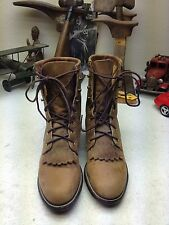 DISTRESSED JUSTIN USA 1575 BROWN LEATHER WESTERN KILTIE GRANNY RANCH BOOTS 5C
