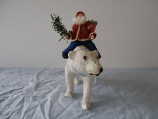 ANTIQUE GERMAN RIDING SANTA CLAUS ON A POLAR BEAR WITH GLASS EYES 1900/1940