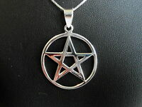 Sterling Silver (925) Large Pentagram Pendant (37 MM ) With 925 Silver Chain !!